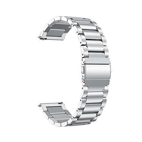 ZZDH Correas Relojes Acero Inoxidable Pulsera de Metal Transpirable de 20 mm 22 mm de Acero Inoxidable (Band Width : 20mm, Color : Silver)