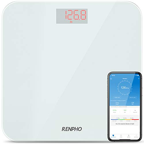 RENPHO Bathroom Scale Digital Weight with BMI, Smart Weighing Body Scale with Easy-to-Read Backlit LED & Smartphone App sync with Bluetooth, Sturdy Tempered Glass, 400 lbs, White
