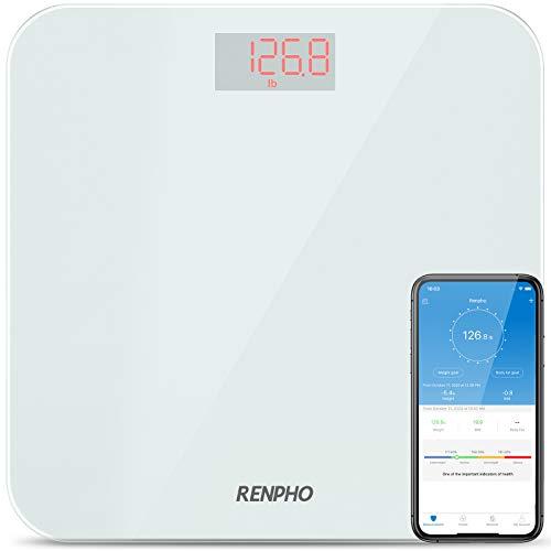 RENPHO Bluetooth Báscula de Baño Peso Digital con IMC, Báscula de Pesaje Inteligente con Aplicación de Teléfono Inteligente y LED Retroiluminado Fácil de Leer, Vidrio Templado Resistente,400 lb,Blanco