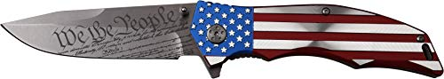 "MTECH USA MX-A849CL Spring Assist Folding Knife, Straight Edge Blade, American Flag Handle, 5"" Closed"