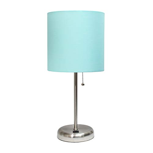 Limelights LT2044-AQU Stick USB Charging Port and Fabric Shade Table Lamp, Brushed Steel/Aqua
