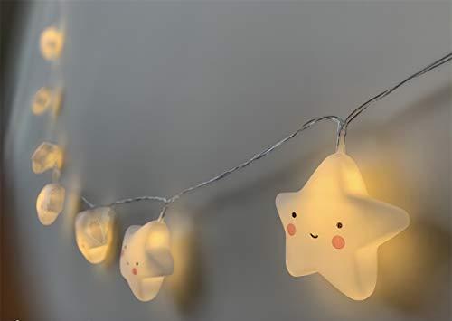 Luz Nocturna Infantil Guirnalda Estrellas de Silicona Modo Nocturna Cuidado Ojos Seguro Regalo para Bebé Niño