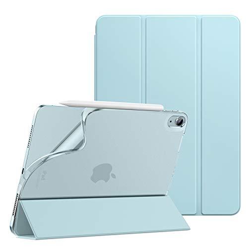 iPad Air 4 ケース 2020 Dadanism iPad 10.9インチ カバー 2020モデル アイパッド エア 第4代 タブレットケース オートスリープ機能 軽量 薄型 PU+TPU 三つ折り スタンドケース 半透明 ソフト マイクロファイバー裏地 正面合成革 耐衝撃 スカイブルー