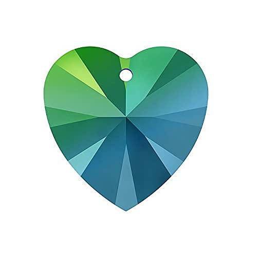 2 colgantes de cristal de Swarovski – Corazón (6228) de cristal Scarabeus verde, 10,3 x 10 mm (Swarovski Crystals – Corazón (6228) Crystal Scarabeus Green, 10,3 x)