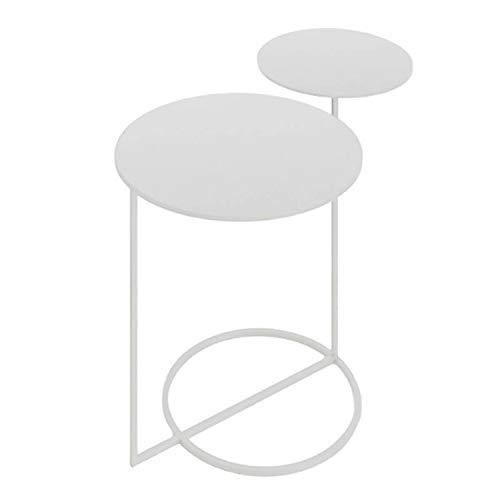 Vidal Regalos Mesa Auxiliar Madera y Metal 2 Niveles Blanca 55 cm
