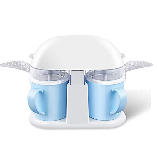 Copa Doble Slush Fabricante de Helado del hogar, Soft Serve Ice Cream Machine Topping dispensador, Gelato máquina de Mezcla Desmontable Paddle Azul JIAJIAFUDR
