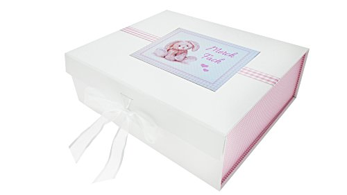 White Cotton Cards Welsh Merch Fach Grande boîte à Souvenirs Motif Lapin Rose 27,2 x 32 x 11 cm