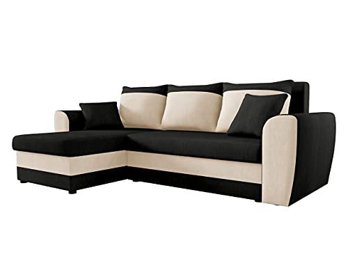Ecksofa Domo, Eckcouch Couch mit Schlaffunktion, Bettkasten, L-Form Sofa! Farbauswahl, Bettfunktion! Wohnlandschaft! Seite Universal! (Mikrofaza 0015 + Mikrofaza 0031)