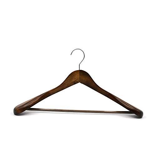 SUNTRADE breite Schulter-Kleiderbügel aus Holz, Kleiderbügel, Jacke, schwere Kleidung, Hosen-Kleiderbügel beige (Coffee)