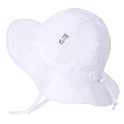 JAN & JUL Cotton Sun-Hat for Toddler Girl with Strap, 50+UPF Protection (L: 2-5 Years, White)