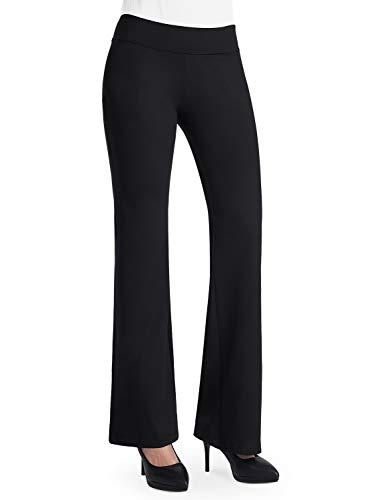 Bamans Women's Long Inseam Tall Dress Bootcut Yoga Pants Workout Non See-Through Bootleg Yoga Pants, Black X-Large