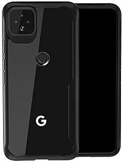 Google pixel 4a クリアケース シンプル透明 ケース/カバー アクリル+TPU 耐衝撃タフカバー グーグル ピクセル4a 頑丈ソフト&ハードケース/カバー おしゃれ スマフォ スマホ スマートフォンケース/カバー(ブラック)