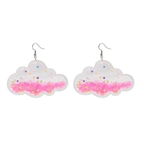 KunmniZ Pendientes Colgantes de acrílico con Nubes de Estrellas Rosas románticas para Mujer joyería Dulce Pendientes Dorados