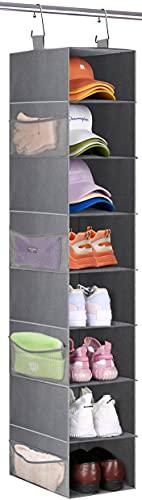 SLEEPING LAMB 8 Shelves Hanging Shoe Rack Wider Shoe Hanger Organizer for Closet Storage Clothes, Hats, Handbags, with 8 Mesh Pockets, Grey
