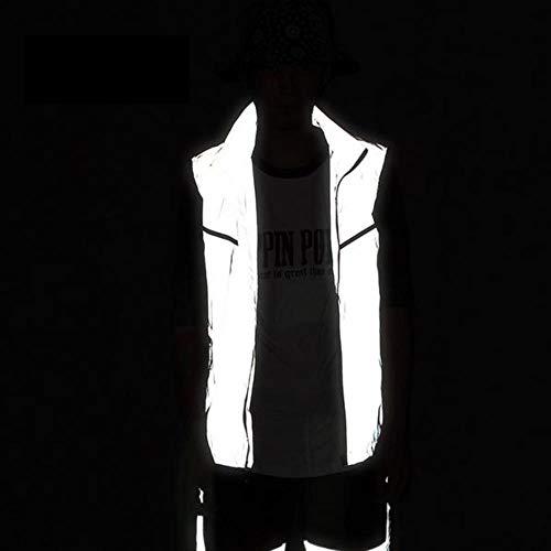 Vest Reflecterende Veiligheid Reflecterende Vesten Plus Size S-4Xl Hip Hop Biker Dunne Ademende Nacht Joggen Veiligheid Waterdicht Outdoors Vest XL ZILVER