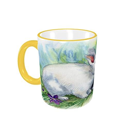 Taza de café Violet Animal Bunny Happy Easter Tazas de café Tazas de cerámica con Asas para Bebidas Calientes - Cappuccino, Latte, Tea, Coffee Gifts 12 oz Yellow