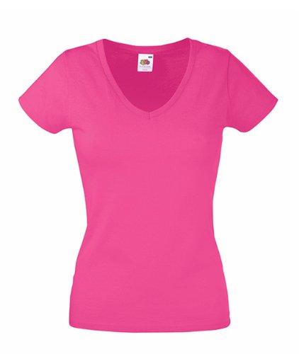Fruit of the Loom - Camiseta con cuello en V para mujer Rosa fucsia XS