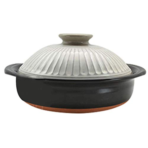 Japanese Donabe Hot Pot,Clay Rice Cooker,Round Ceramic Casserole,Heat-resistant Earthenware Rice Pot,Slow Stew Pot,Stovetop Ceramic Cookware,Stockpot C 2.7l