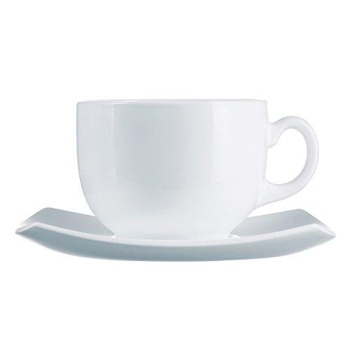 Arcoroc ARC E8865 Delice Obertasse mit Untertasse, 220ml, Opalglas, weiß, 6 Stück