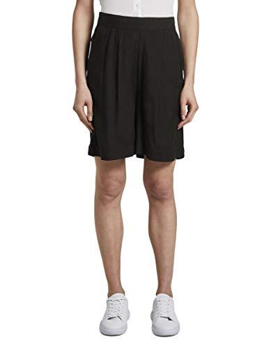 TOM TAILOR Damen Hosen & Chino Loose Fit Bermuda Shorts mit elastischem Bund Deep Black,44