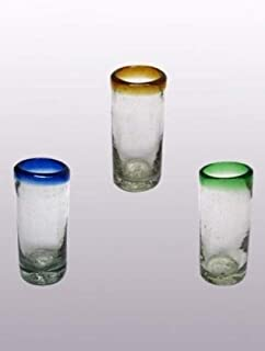 Mexican Blown Glass Shot Glasses Blue and Green and Amber Rim (Set of 6)