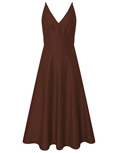 HUINI Vintage Cocktailkleider Knielang Abendkleid Hochzeitskleider V-Ausschnitt Sommerleid Damen Brautjungfernkleider Braun 56