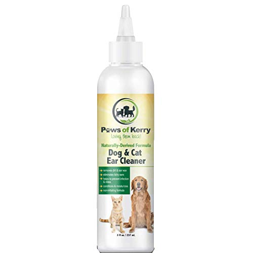 Dog Ear Cleaner for Itching, Head Shaking, Odor, Wax and Discharge. Non-Irritating Ear Cleaner for Dogs and Cats helps Ear Mites, Yeast, Bacteria and Dog Ear Problem. Ear Drops and Wash.