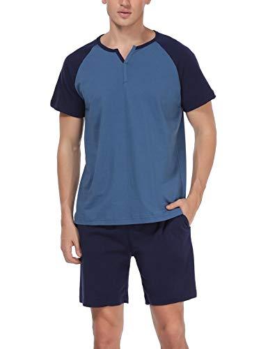 Abollria Schlafanzug Herren Zweiteiliger Pyjama kurz Baumwolle Schlafanzüge Anzug Shirt Hose Kurze Sommer Shorty Sleepwear Loungewear