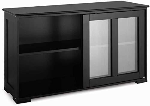 Bajo cajón cocina comida armario lateral, con una puerta corredera de cristal y dos estante blanco,Black