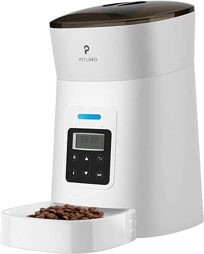PETLIBRO Automatischer Futterautomat Katze & Hund,Automatischer Futterspender mit LED-Anzeige für niedrigen Futterstand, 0-50 Portionskontrolle für 1-6 Mahlzeiten täglich,10s Voice Recorder.