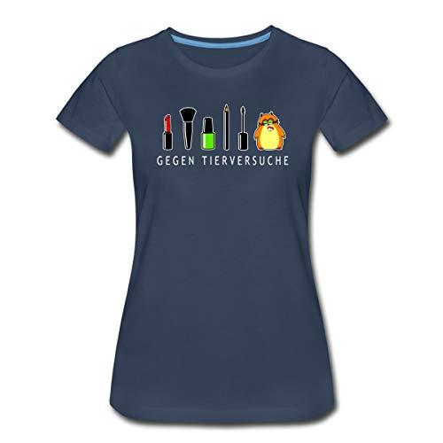 Hamster Gegen Tierversuche Geschminkt Frauen Premium T-Shirt, L, Navy