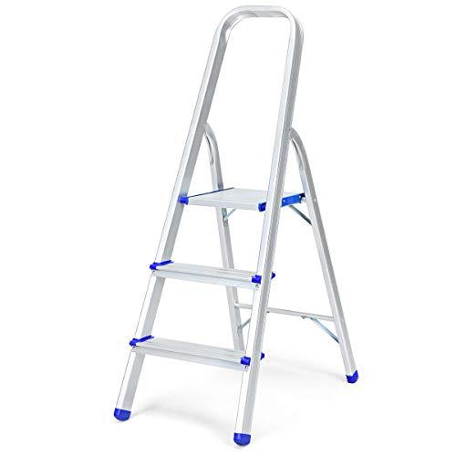 DREAMADE Trittleiter aus Aluminium, Leiter Stehleiter Rutschfest, Stufenleiter klappbar, Ausziehleiter Mehrzweckleiter stabil für innen und draußen (3 Stufen)