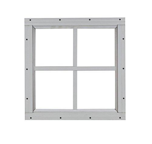 "Square Shed Window 12"" X 12"" White Flush Mount, Playhouse Windows, Chicken Coop Windows"