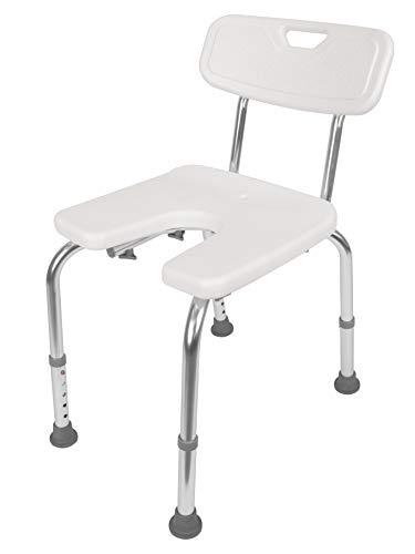 GAH-Alberts 140830 - Silla para ducha (forma de U, altura regulable, plástico, 400 x 380 mm), color blanco