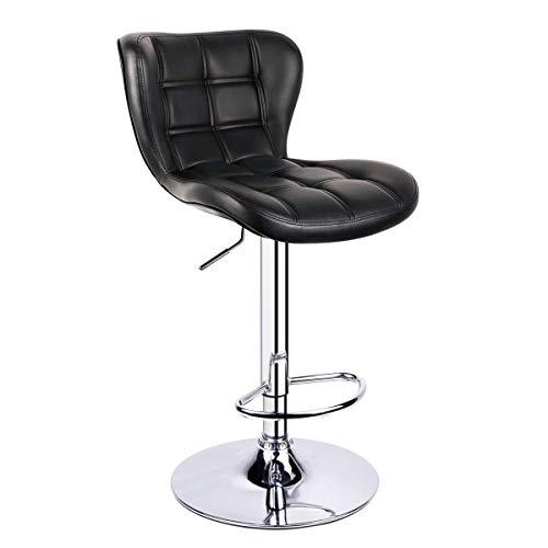 Leader Accessories Barhocker (1er-Set) Schalensitz Barstuhl mit Lehne stylischer Tresenhocker höhenverstellbar 62-82cm Drehstuhl 360 Grad Bezug aus Kunstleder schwarz