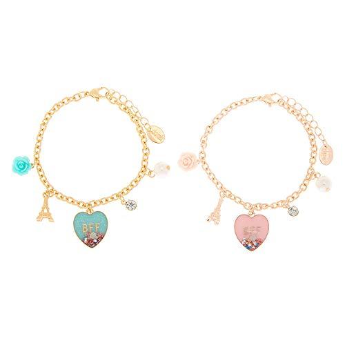 claires friend sisters Claire's Matching Paris Love Chain Best Friends Friendship Bracelets, Gold Tone, Lobster Clasp, Set of 2