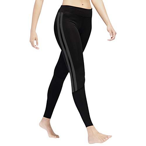 GoVIA Leggings Damen Laufhose Luftdurchlässige Trainingshose Sporthose Yogahose Fitness Yoga High Waist Lang Streifen 4138 Grau S/M