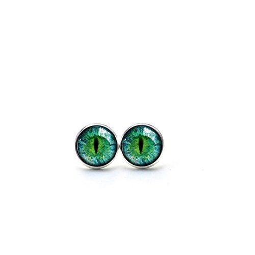 Pendientes de ojo de gato verde con forma de ojo de gato, pendientes de ojo de gato, joyería de...