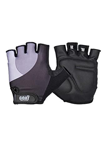 Goat Guantes cómodos de medio dedo para ciclismo, levantamiento de pesas y bolos, color negro neón - Talla 5.2 / 6.8