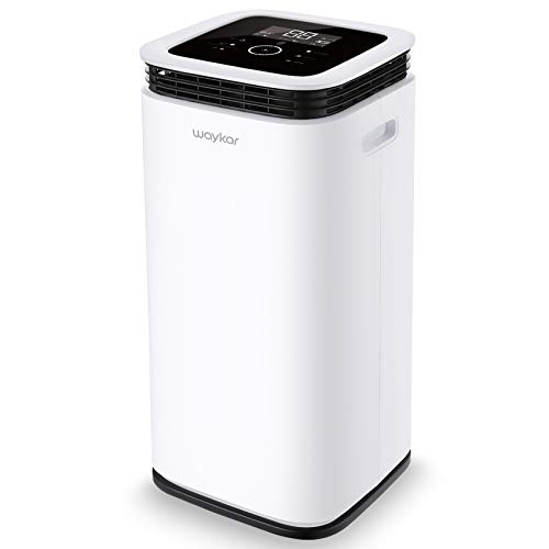 Waykar 70 Pint Dehumidifier for Home Basements Bedroom Garage, Removes 9 Gallons Moisture/Day in Spaces up to 4500 Sq. Ft, with Continuous Drain Hose, 1.18 Gallons Water Tank and Four Air Outlets