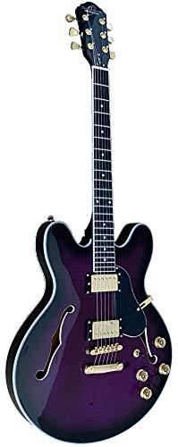 Oscar Schmidt OE30F Delta King Semi-Hollowbody Electric Guitar with Flame Maple Top, Purple Burst