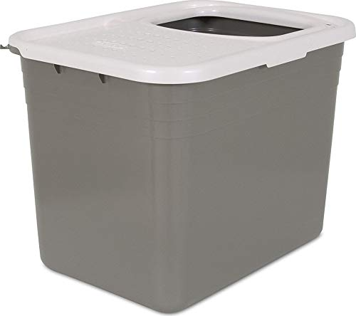Petmate Top Entry Litter Pan Cat Litter Box Brushed Nickel/Pearl...