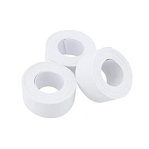 Yuhtech Juego de 3 cintas de sellado resistentes al agua, autoadhesivas, resistentes al agua, para cocina, cuarto de baño, baño, esquina de pared