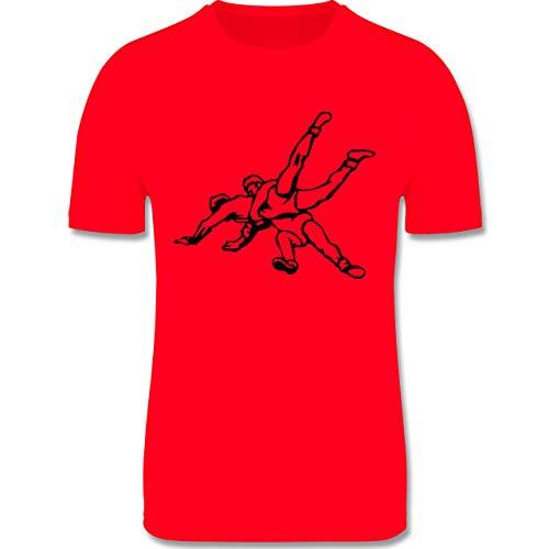 Sport Kind - Ringen - 116 (5/6 Jahre) - Rot - Trikot Ringen - F350K - atmungsaktives Laufshirt/Funktionsshirt für Mädchen und Jungen