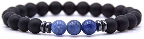 RTUTUR Pulsera de Piedra Mujer, 7 Chakra Natural Lapis Lazuli Piedra Bangle Brazalete Elástico Yoga Energía Lucky Pulsera Joyería de Moda para Damas Regalo de Pareja de Navidad