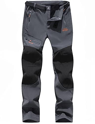 BenBoy Pantalones de Montaña Hombre Impermeables Invierno Calentar Pantalones Trekking Escalada Senderismo Softshell, KZ1672M- Grey- L