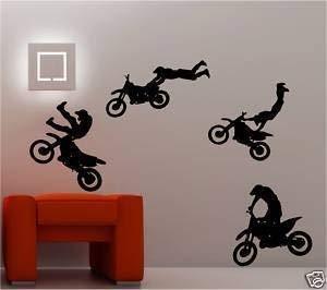 Online Ontwerp 4 X Motocross Bike Muur Art Stickers Kids Slaapkamer Decal Groen