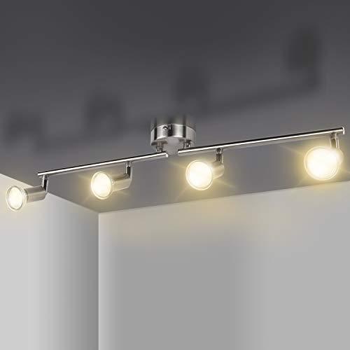Comzler deckenstrahler 4 flammig, LED strahler innen, LED Deckenleuchte mit 4 drehbaren Deckenspots 4W LED GU10 Birnen Deckenstrahler für Küche, Wohnzimmer, Schlafzimmer