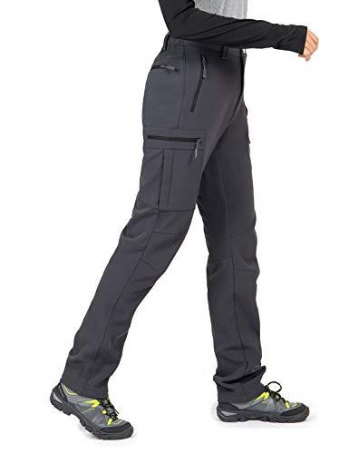 Wespornow Damen Wanderhose Wasserdicht Outdoorhose Softshellhose Thermohose Winddichte berghose Warme Trekkinghose Skihose für Skifahren, Camping, Hundesport und Wintersport (Grau, S)