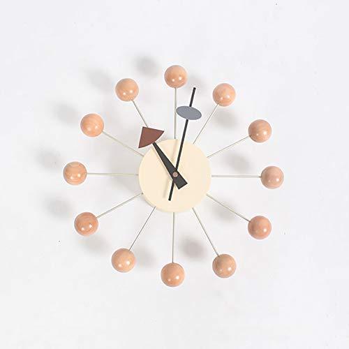 PDXGZ Wanduhr Ball Clock Mehrfarbig Kreativ Candy Uhr, Multi Color Nicht Ticken 3D rahmenlose Quarzuhr Dekorative Für Zuhause Büros-A 32x32cm,Woodcolor